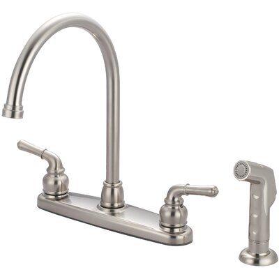 Double Handle Centerset Kitchen Faucet with Side Spray Finish: PVD Brushed Nickel