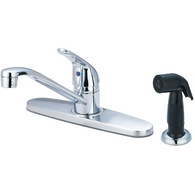 Single Handle Centerset Kitchen Faucet with Side Spray Finish: PVD Brushed Nickel