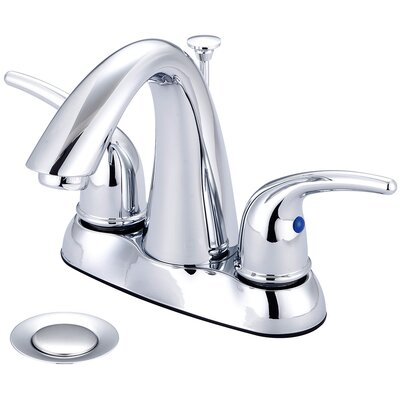 Double Handle Centerset Standard Bathroom Faucet with Drain Assembly Finish: PVD Brushed Nickel