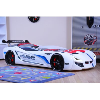 Kids Race Twin Car Bed with Euro Mattress Color: White
