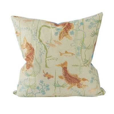 Asian Koi Pond Woven Cotton Throw Pillow