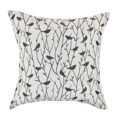 Bird Jacquard Throw Pillow Size: 18 H x 18 W x 6 D, Color: White