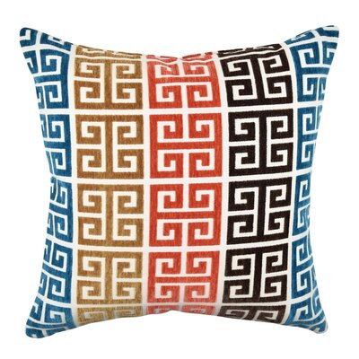 Greek Key Throw Pillow Size: 18 H x 18 W x 6 D, Color: Blue