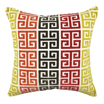 Greek Key Throw Pillow Size: 18 H x 18 W x 6 D, Color: Orange