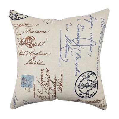 Postal Script Throw Pillow Size: 20 H x 20 W x 6 D, Color: Blue