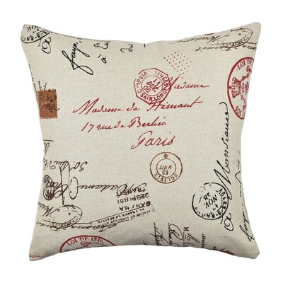 Postal Script Throw Pillow Size: 18 H x 18 W x 6 D, Color: Red