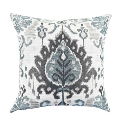 Ikat Cotton Throw Pillow Size: 20 H x 20 W x 6 D, Color: Blue/Gray