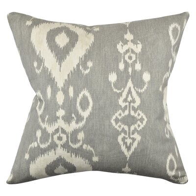 Ikat Inspired Throw Pillow Size: 20 H x 20 W x 6 D, Color: Gray