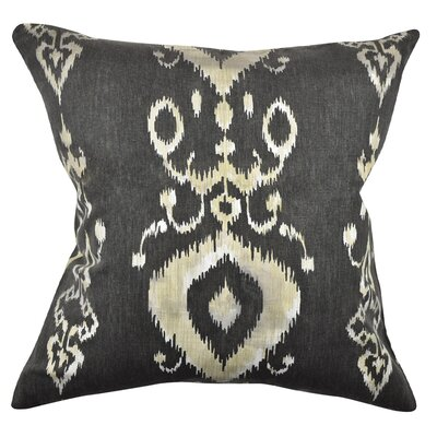 Ikat Inspired Throw Pillow Size: 18 H x 18 W x 6 D, Color: Charcoal