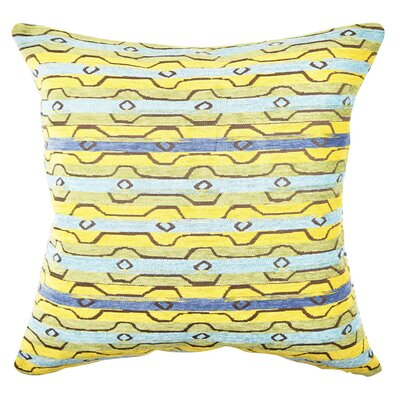 Stripe Throw Pillow Size: 18 H x 18 W x 6 D, Color: Blue/Yellow