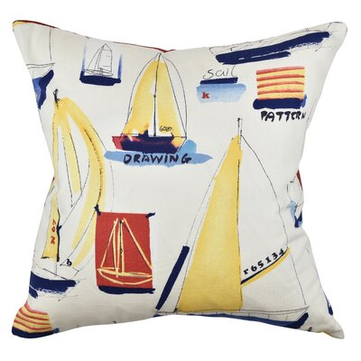 Nautical Throw Pillow Size: 20 H x 20 W x 6 D, Color: Red