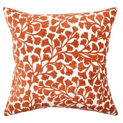 Floral Flocked Throw Pillow Size: 20 H x 20 W x 6 D, Color: Orange