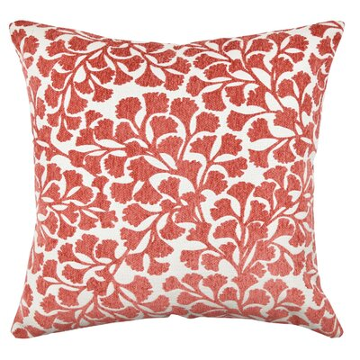 Floral Flocked Throw Pillow Size: 18