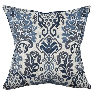 Damask Throw Pillow Size: 20 H x 20 W x 6 D, Color: Blue/Gray
