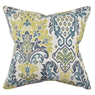 Damask Throw Pillow Size: 20 H x 20 W x 6 D, Color: Blue/Green