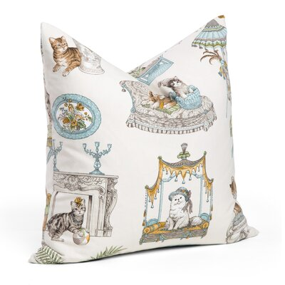 Cat Fancy Throw Pillow Color: Spa