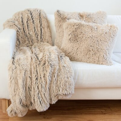 3 Piece Throw Pillow and Blanket Set Color: Taupe