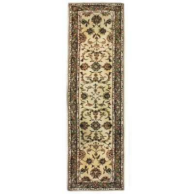Opulance Hand Tufted Wool Natural/Olive Green Area Rug Rug Size: Runner 2 x 76