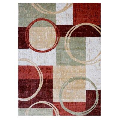 LaScala Dazio Red/White Area Rug Rug Size: 53 x 7