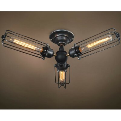 Wire 3-Light Semi Flush Mount