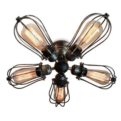 Squirrel Cage 5-Light Semi Flush Mount