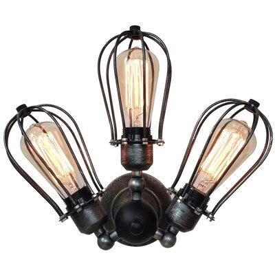 Transformable Arm Squirrel Cage 3-Light Semi Flush Mount