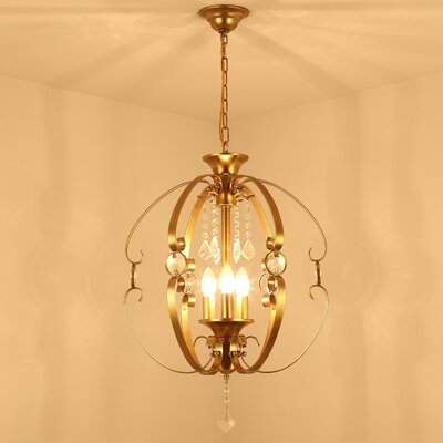 Crystal Golden Pendant 3-Light Foyer Pendant