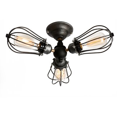 Squirrel Cage 3-Light Semi Flush Mount