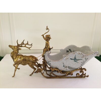 Handmade Sleigh Deer Porcelain Craft Tabletop Wine Bottle Rack