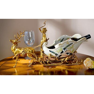 Classical Sleigh Deer Porcelain 1 Bottle Tabletop Wine Bottle Rack