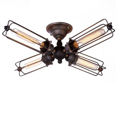Wire 4-Light Semi Flush Mount