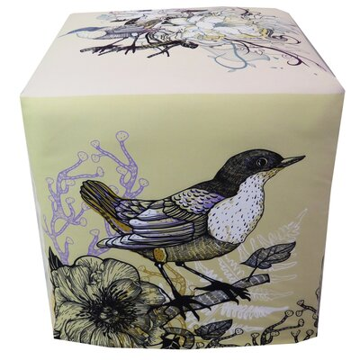 Colorful Birds and Flowers Ottoman