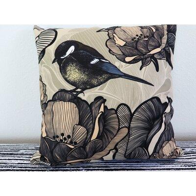 Floral With Bird Titmouse Throw Pillow Size: 18 H x 18 W x 4 D