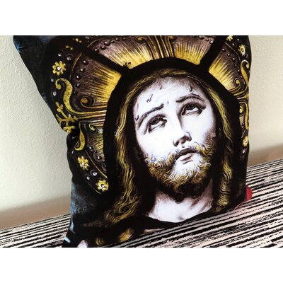 Jesus Christ Victorian Stained Glass Suede Throw Pillow Size: 18 H x 18 W x 4 D