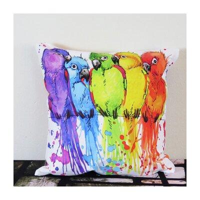 Colorful Parrots Illustration Throw Pillow Size: 18 H x 18 W x 4 D