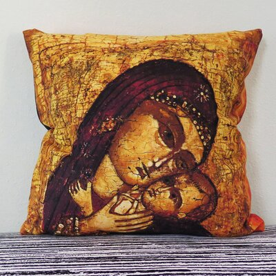 Russian Orthodox Icon of Mother of God (Mary) and Child (Jesus Christ) Throw Pillow Size: 18 H x 18 W x 4 D