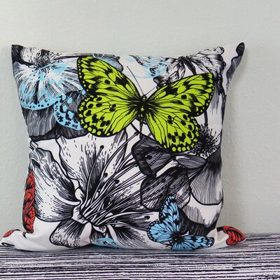 Blooming Roses and Flying Butterflies Throw Pillow Size: 30 H x 30 W x 4 D