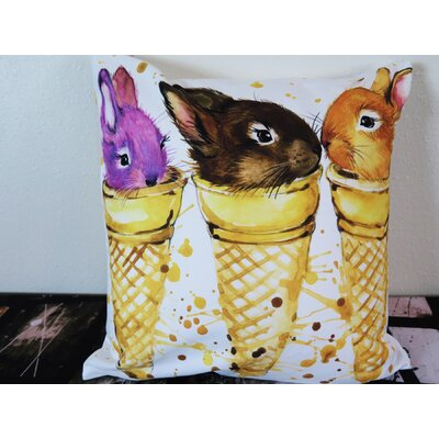 Rabbits in Ice Cream Cone Throw Pillow Size: 30 H x 30 W x 4 D