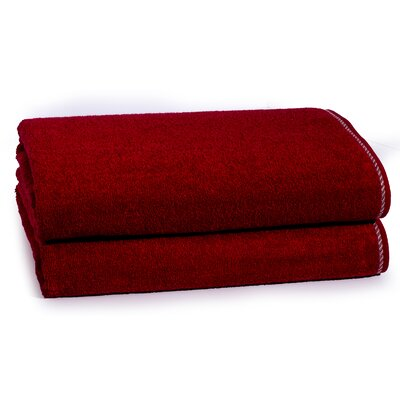 Cambridge Silver X-Static 2 Piece Bath Sheet Set Color: Berry Red