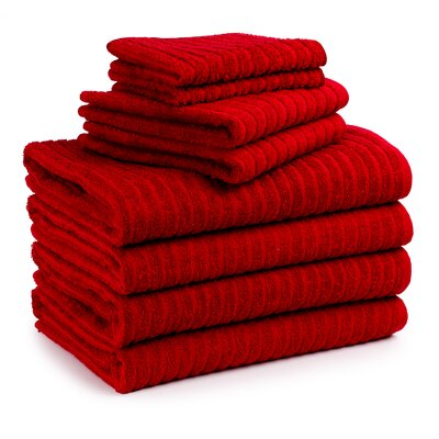 Cambridge Super Dry US Cotton 8 Piece Bath Towel Set Color: Berry Red