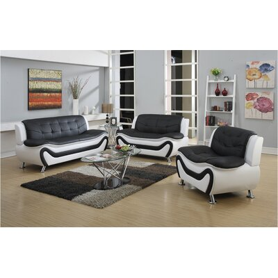 Fiorina 3 Piece Living Room Set Upholstery: Black/White