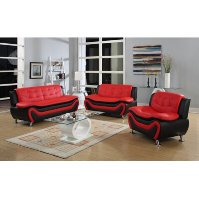 Fiorina 3 Piece Living Room Set Upholstery: Black/Red