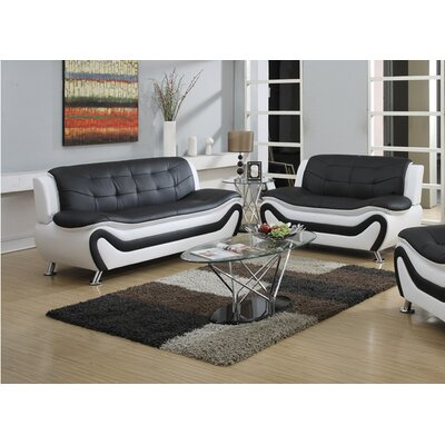 Tolar 2 Piece Living Room Set Upholstery: Black/White