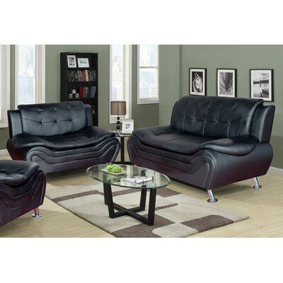 Fiorina 2 Piece Living Room Set Upholstery: Black