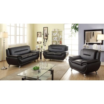 Sophia 3 Piece Modern Living Room Sofa Set