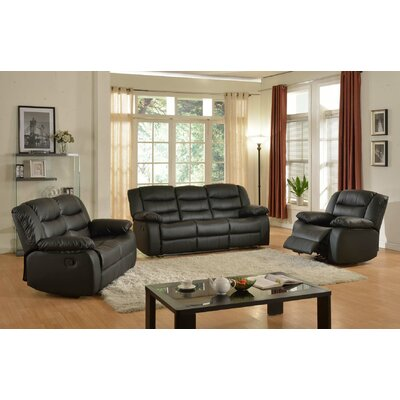 Casta 3 Piece Living Room Set Color: Black