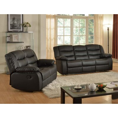 Casta Sofa and Loveseat Set Color: Black