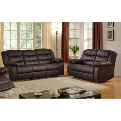 Casta Sofa and Loveseat Set Color: Dark Brown