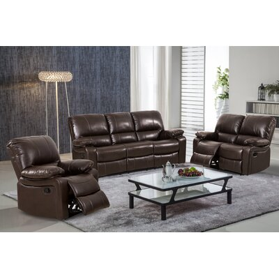 Layla 3 Piece Leather Gel Reclining Living Room Set Upholstery: Dark Brown