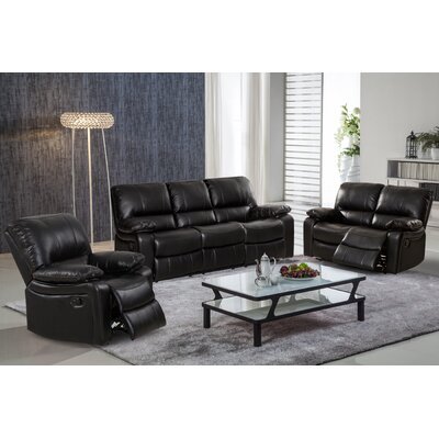 7619-3PC Living In Style Black Living Room Sets